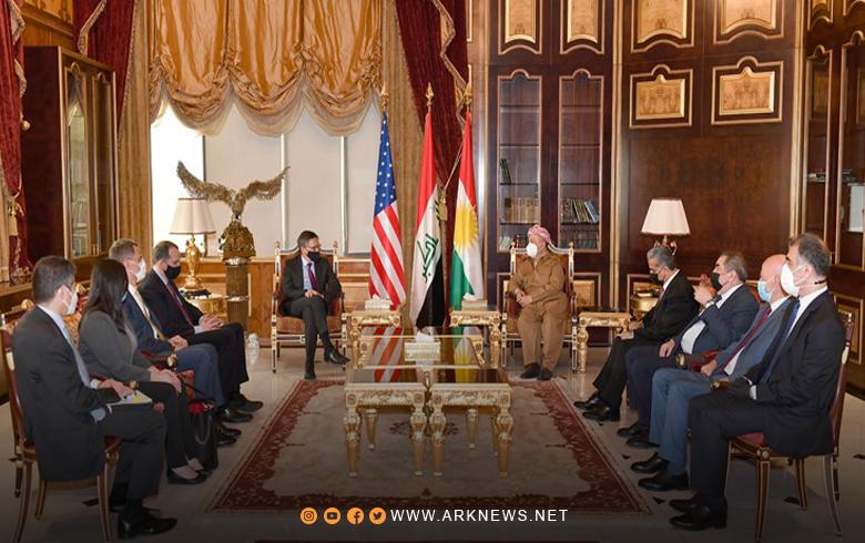 الرئيس بارزاني ووفد أمريكي يناقشان آخر المستجدات السياسية في العراق والمنطقة