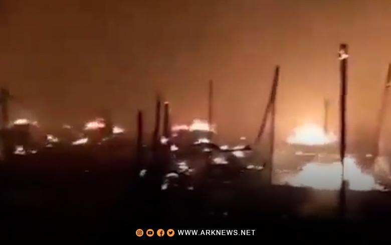 حريق ضخم في مخيم للاجئين السوريين في لبنان