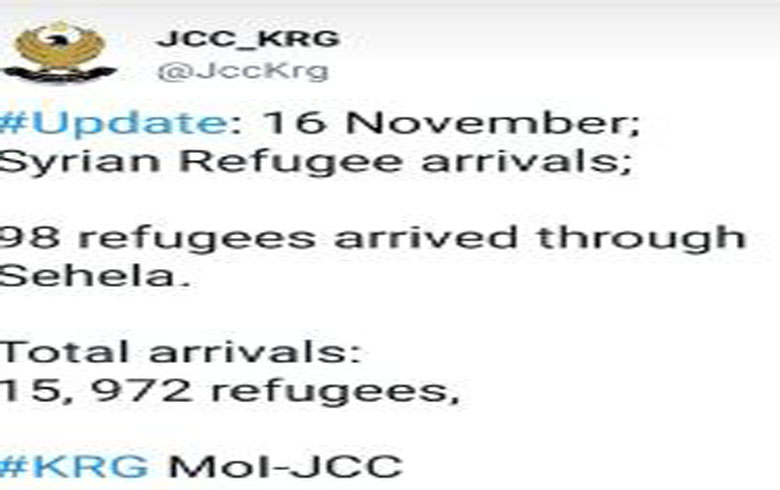 The arrival of 98 Syrian refugees to Kurdistan Region