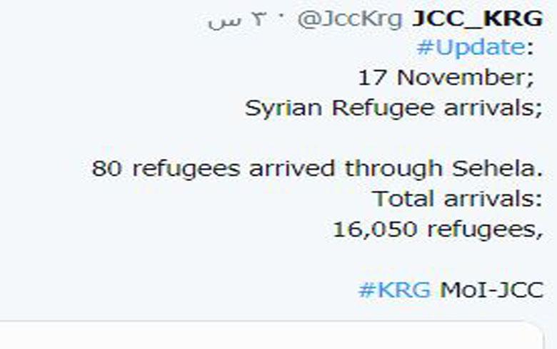 أعداد اللاجئين السوريين الواصلين إلى اقليم كوردستان تجاوز الـ16 ألف لاجىء