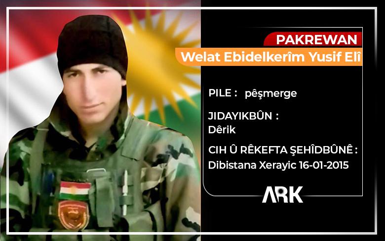 Şêniyên Rojavayê Kurdistanê salvegera 6an ya şehîdbûna Pêşmerge Welat Ebdulkerîm tînin bîra xwe