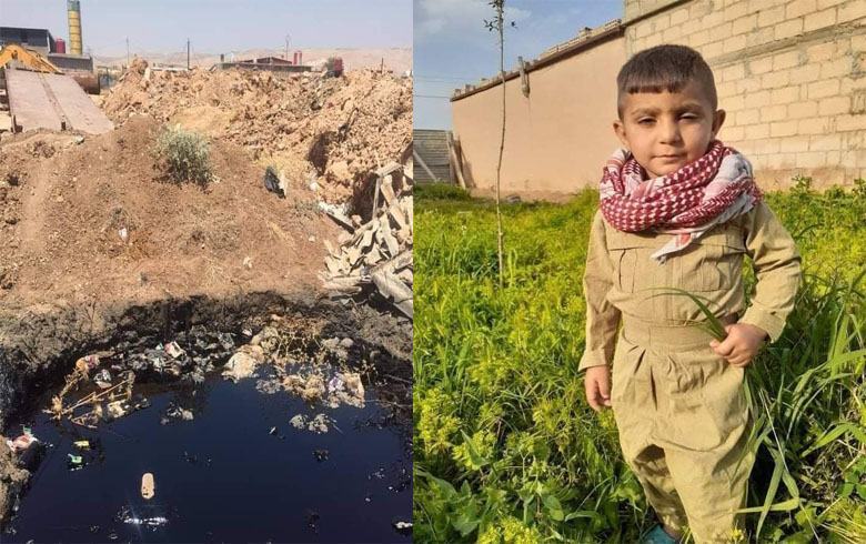 A child loses his life in an oil-filled pit in residential neighborhoods in Qamishlo