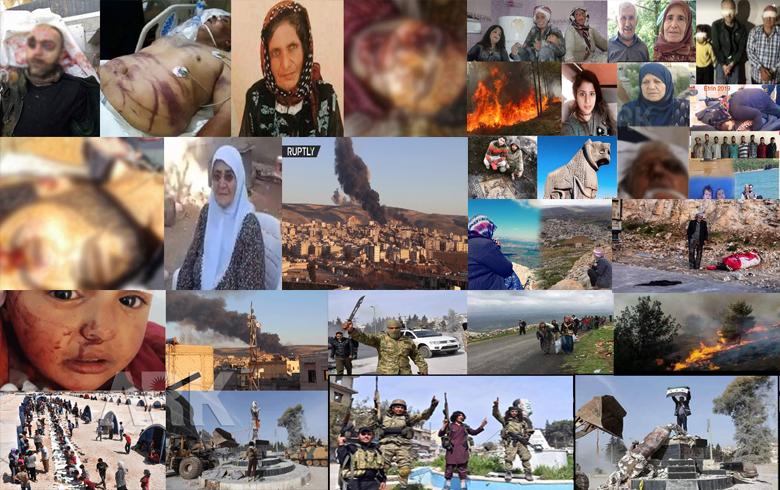 Du sal li ser şerê Efrînê, Binpêkirin, Tawan, û Kiryarên nemirovî