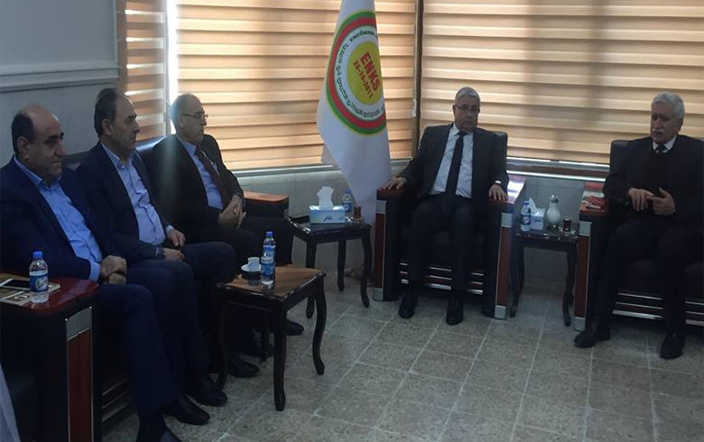 The representative of the Kurdish National Council in Syria in the Kurdistan region receives a delegation from the Kurdistan Socialist Party