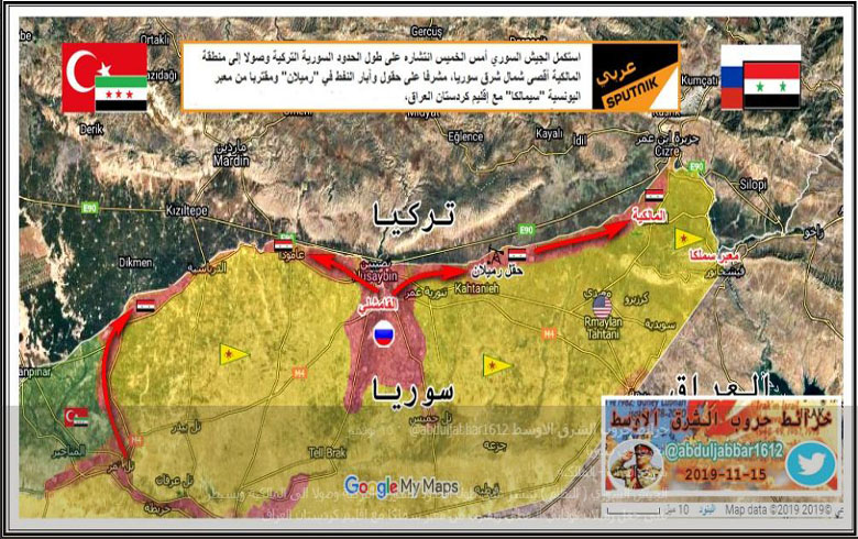 Map of the deployment of the Syrian regime forces from Derbasiya to Ain Dewar
