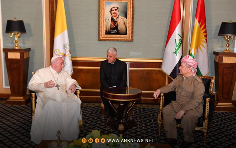 البابا فرنسيس للرئيس بارزاني: شكرا لكم... كوردستان أصبحت ملاذاً للمسيحيين