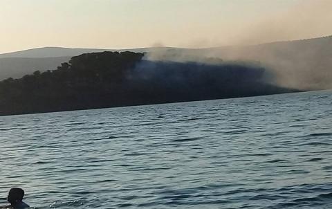 عفرين .. حريق في الجزيرة الصغيرة في سد ميدانكي