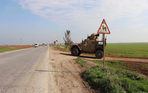 The U.S. armored vehicles tracking a Russian patrol in north of Hasaka