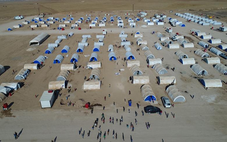 البارزاني الخيرية ترسل ثاني قوافلها الإغاثية إلى مخيم نازحي سرى كانيه